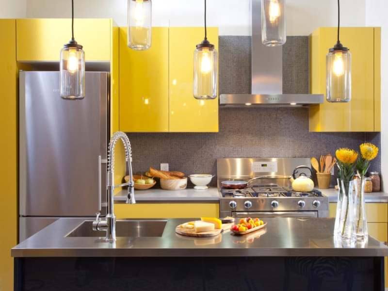 yellow kitchen cabinets built by Kitchen Craftsmen